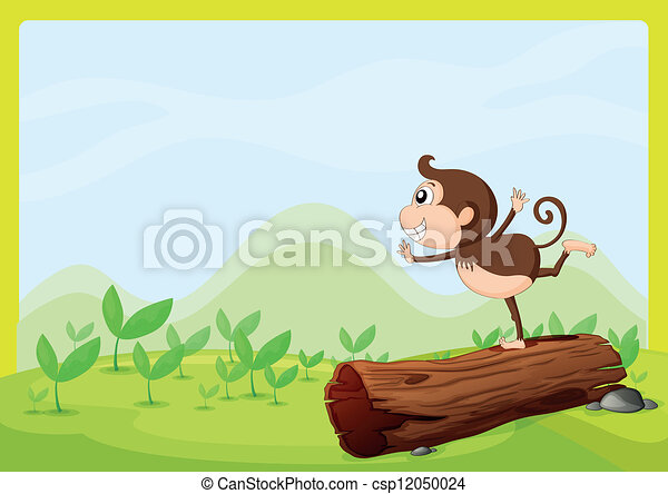 A monkey dancing on wood - csp12050024