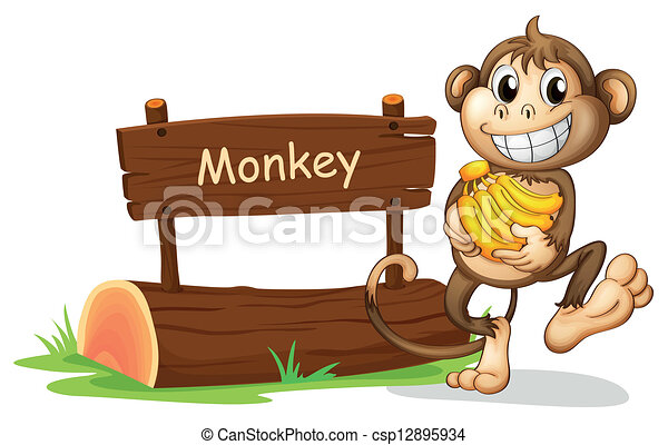 A monkey holding bananas - csp12895934