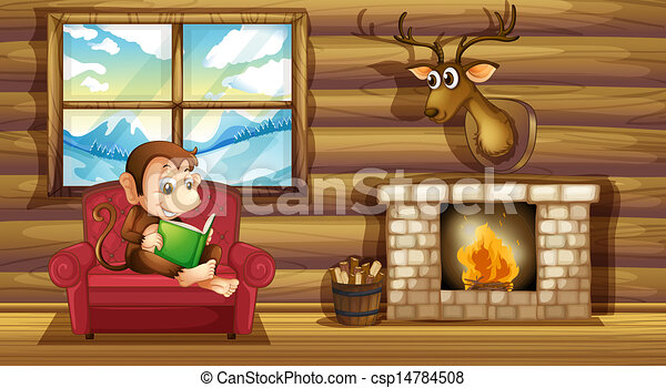 A Monkey Reading At The Chair Near The Fireplace   Csp14784508