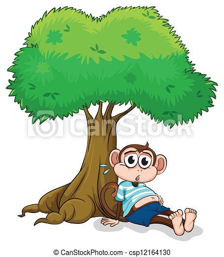 A Monkey Sitting Under A Tree Illustration Of A Monkey Sitting
