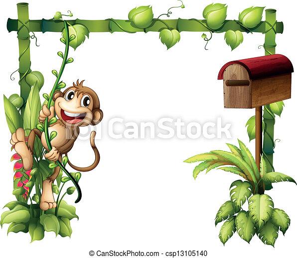 A monkey swinging beside a wooden mailbox - csp13105140