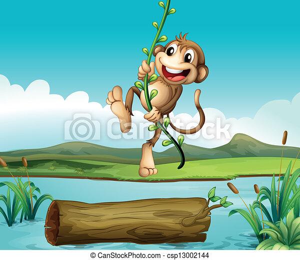 A monkey swinging - csp13002144