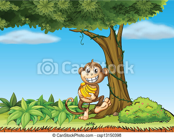 A Monkey With Bananas Near A Tree With Vine Plants Illustration Of