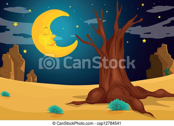 A moonlight evening - csp12784541