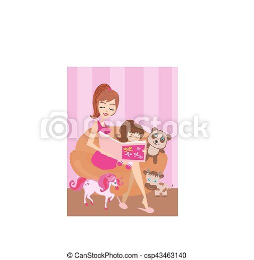 A mother reading a book with her daughter - csp43463140