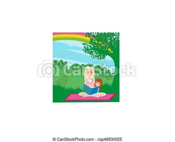 A mother reading a book with her daughter - csp46830025