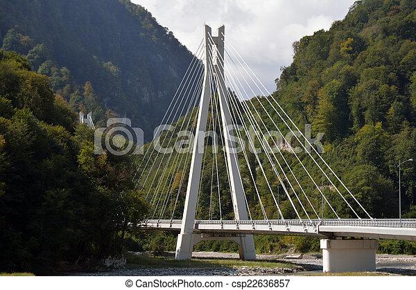 A mountain cable bridge in the Caucasus - csp22636857