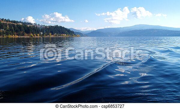 A Mountain Lake Under a Deep Blue Sky Coeur d'Alene Idaho USA - csp6853727