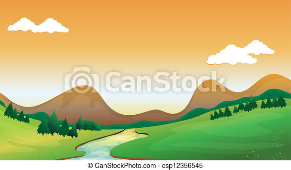 A Mountain View Illustration Of A Mountain View With A Colorful