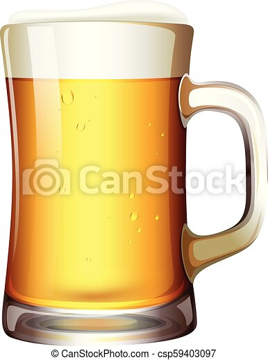 A mug of beer on white background - csp59403097
