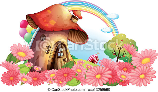 A mushroom house with a garden of flowers - csp13259560