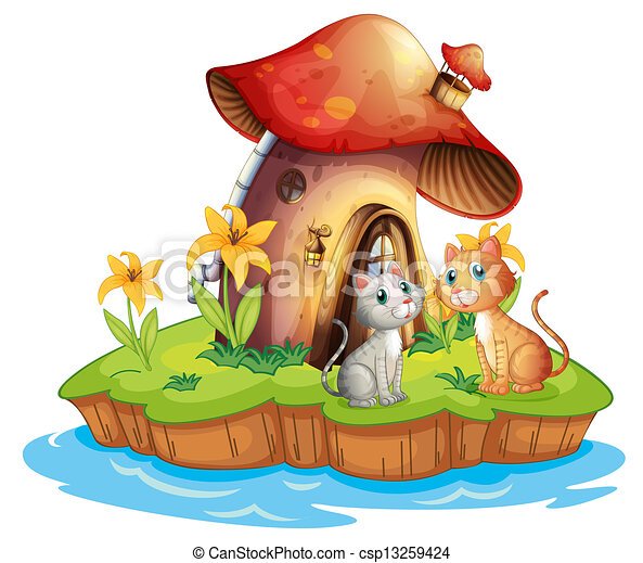 A mushroom house with two cats - csp13259424