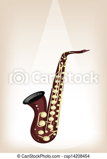 A Musical Alto Saxophone on Brown Stage Background - csp14208454