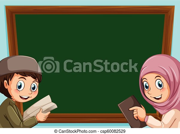 A muslim boy and girl board - csp60082529