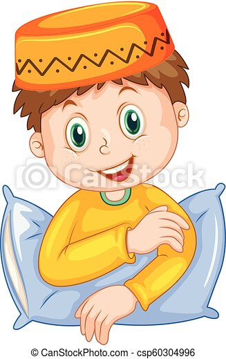 A muslim boy on white background - csp60304996