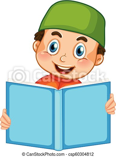 A muslim boy reading on white background - csp60304812