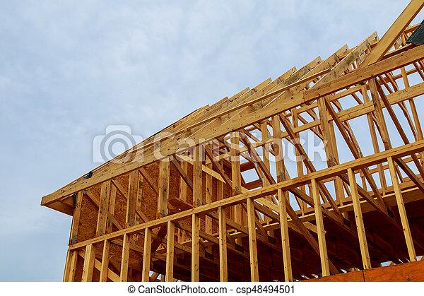 A new stick built home under construction - csp48494501