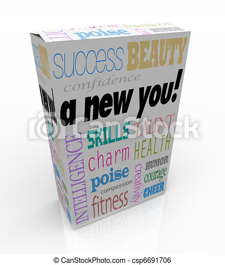 A New You - Product Box Selling Instant Self-Help Improvement - csp6691706