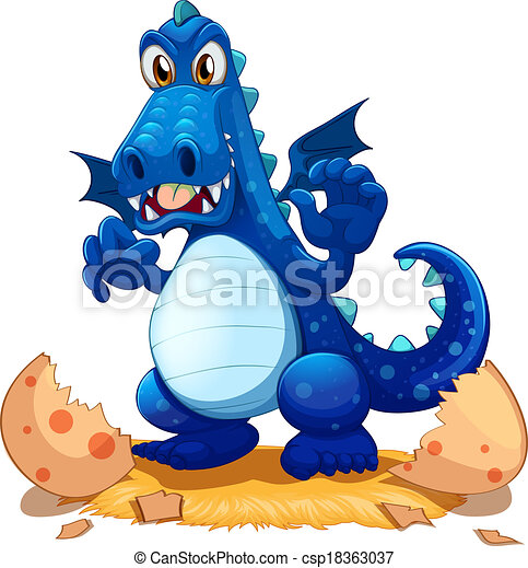 A newly hatched blue dragon - csp18363037