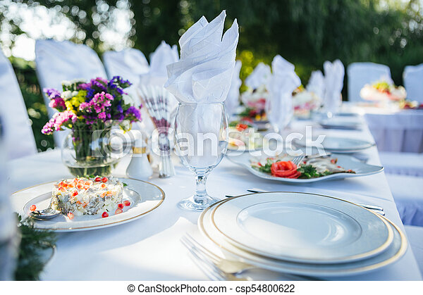 A Nice Wedding Table Decorations Table With Wedding Food In The