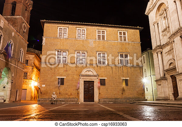 A night view of Pienza, Italy - csp16933063