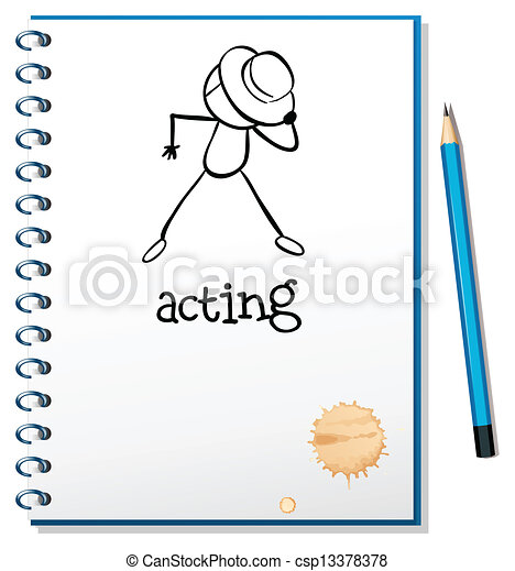 A notebook with a sketch of a person acting at the cover page - csp13378378