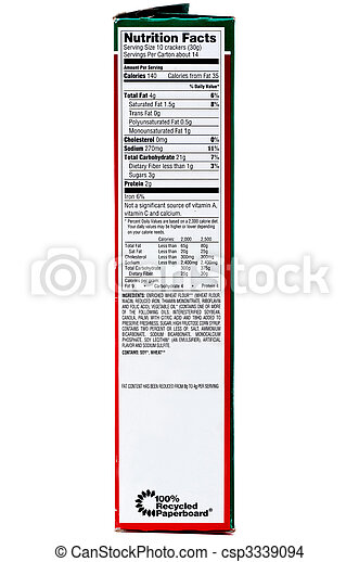 A nuttrition label on a box of crackers on a white background - csp3339094
