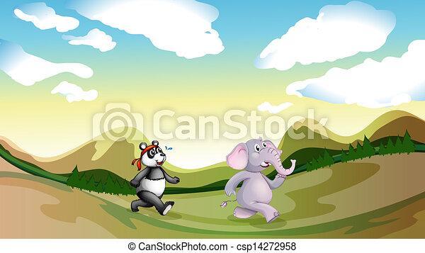 A panda and an elephant walking along the mountains - csp14272958