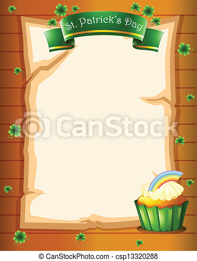 A paper with a St. Patrick's Day greeting and a cupcake - csp13320288