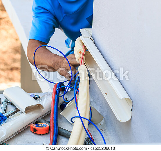 A part of preparing to install new air conditioner.  - csp25206618