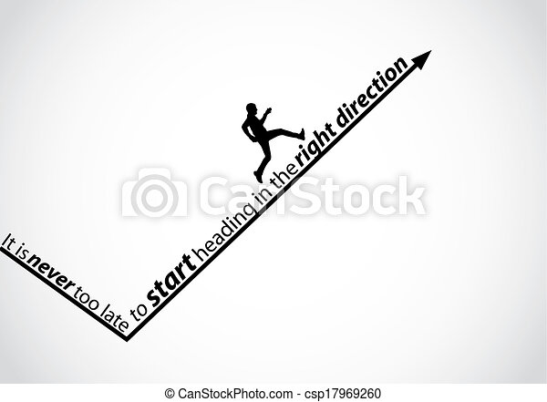a passionate man running up an arrow in the right direction with the text - it is never too late to start heading in the right direction - motivational quote concept design illustration art - csp17969260