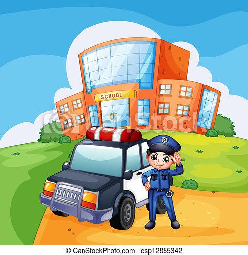 A patrol car and the policeman near the school - csp12855342
