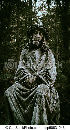 A peaceful place for meditation and communication with God is best with this stone statue of Jesus Christ, which has been here since time immemorial and is very sacred. - csp90631246