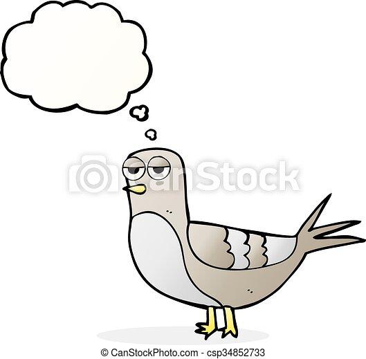 A Pensé Bulle Pigeon Dessin Animé Pigeon Pensée Freehand