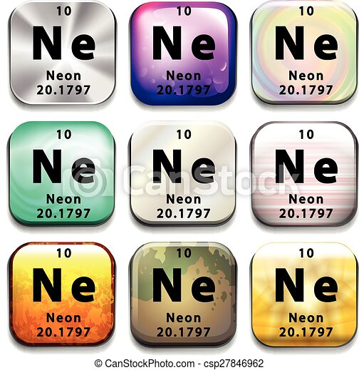 A Periodic Table Button Showing Neon On A White Background Clip Art