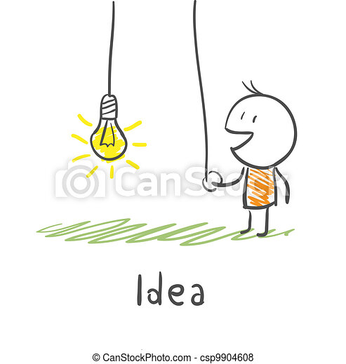 A person includes a light bulb. The concept of the idea. Illustration. - csp9904608