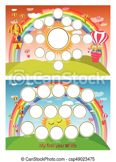 A photo frame of a rainbow and balloon in the sky. Twelve months of development. Horizontal illustration for your design. - csp49023475