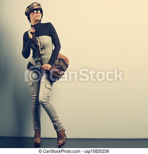 A photo of sexual beautiful girl is in fashion style - csp15825239