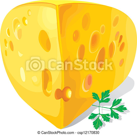 a piece of cheese on a white background - csp12170830