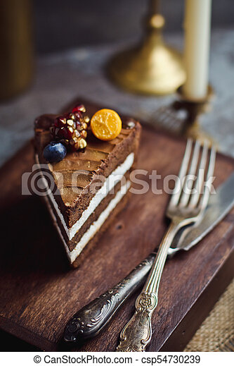 Pleasant A Piece Of Chocolate Cake On Wooden Background Happy Birthday Personalised Birthday Cards Veneteletsinfo
