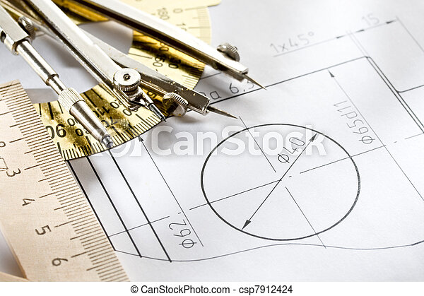 A piece of draft with drafting instrument - csp7912424