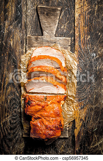 A piece of pork and grill. - csp56957345