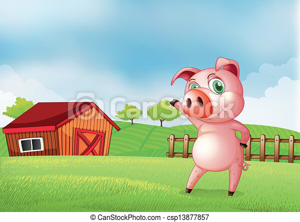 A Pig At The Farm Pointing Barn House