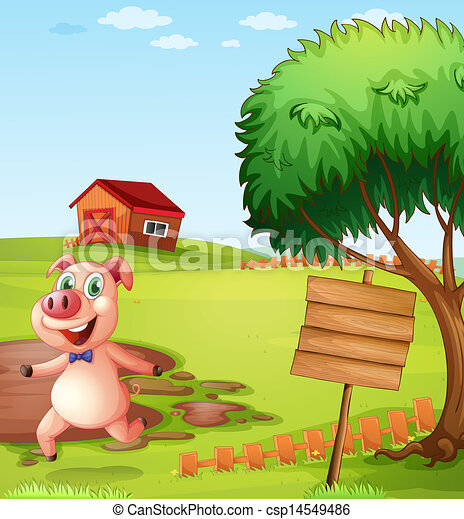 A pig in the farm near the empty signboard - csp14549486