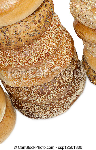 a pile of bagel breads - csp12501300