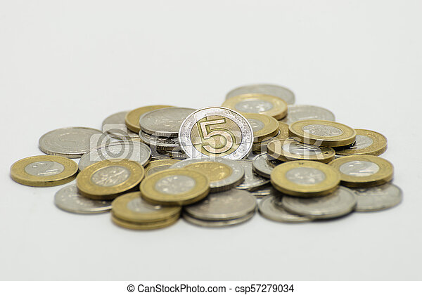 A pile of coins, the Polish currency 1, 2, 5 PLN / Polish zloty. Isolated on white background. - csp57279034