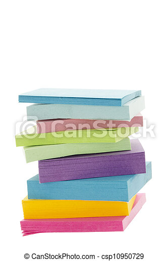 a pile of colorful adhesive paper - csp10950729