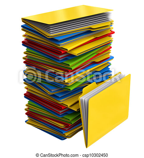 a pile of multi colored folders with documents a pile of multi