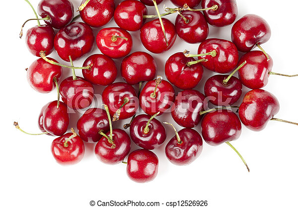 a pile of red cherries - csp12526926