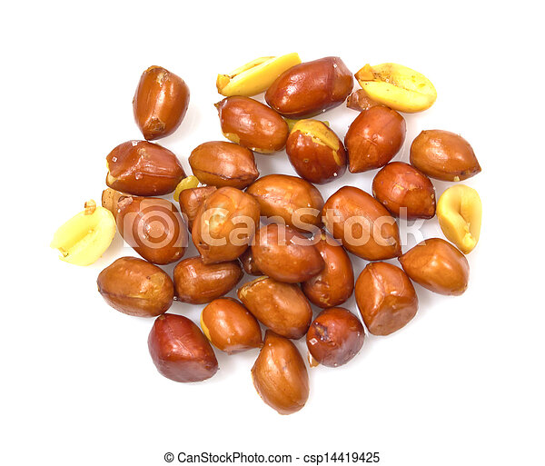 A Pile Of Roasted Peanuts Isolated on White Background - csp14419425